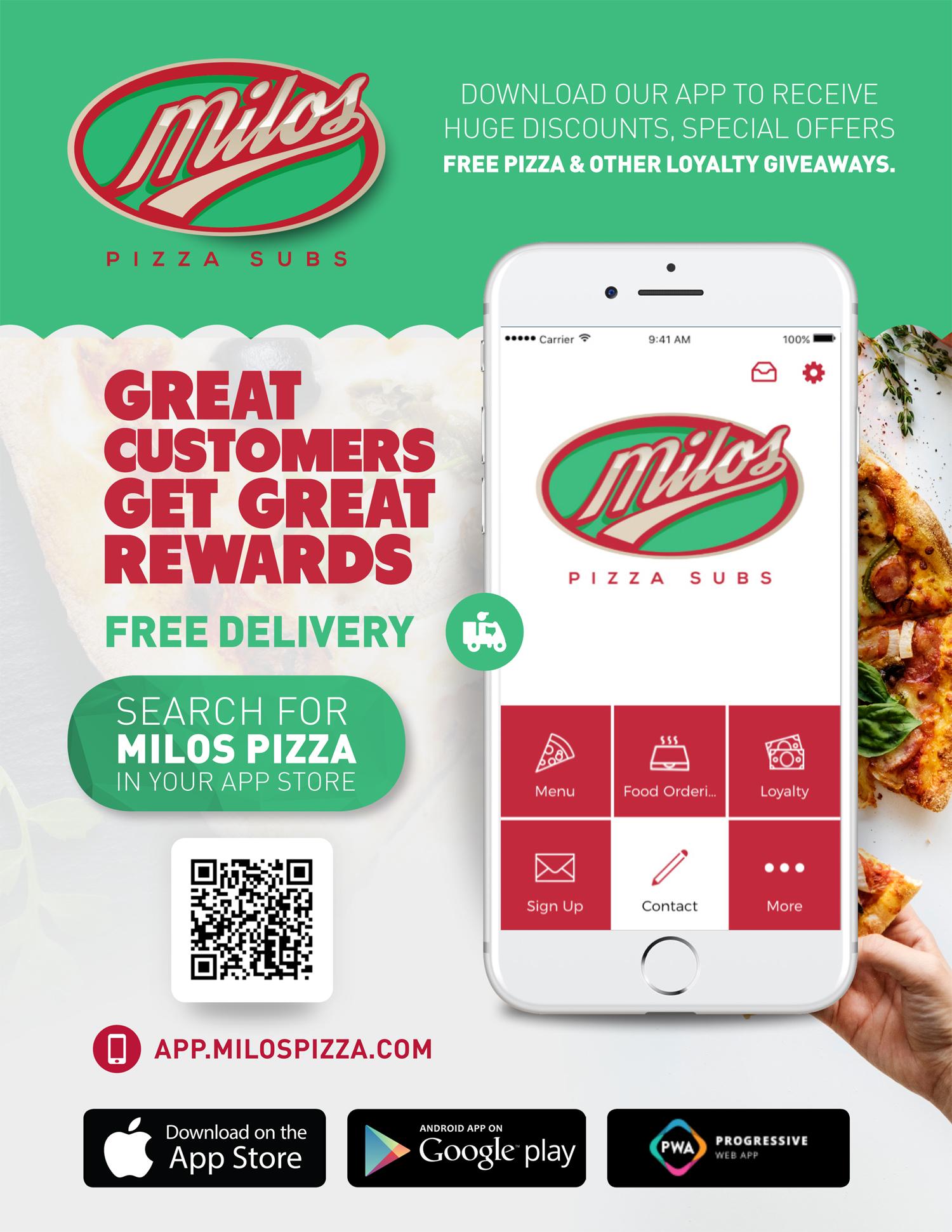 milos pizza app